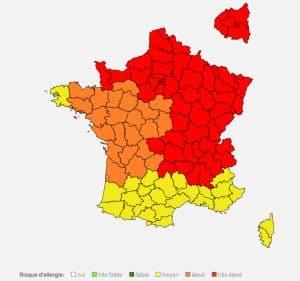 Carte de vigilance des pollens avril 2020 RNSA MILTIS