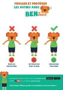 Ben le koala Affiche Tousser dans son coude - ben-le-koala.com