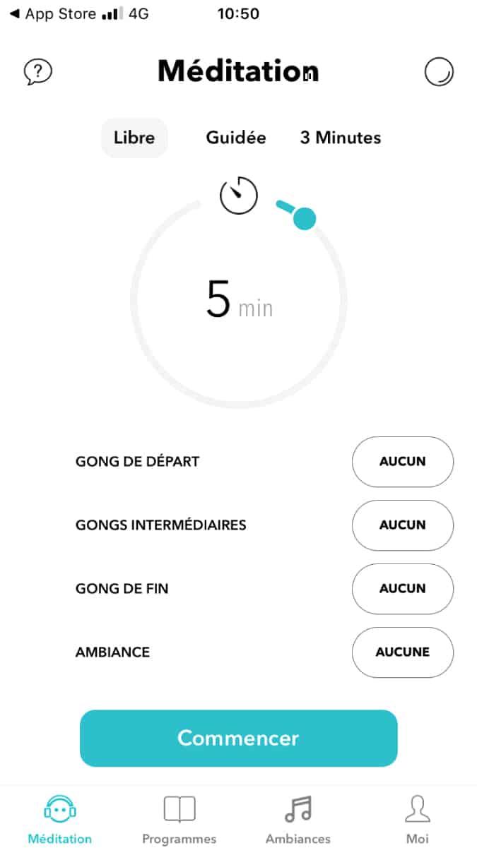 Capture écran application Méditer avec Petit BamBou MILTIS